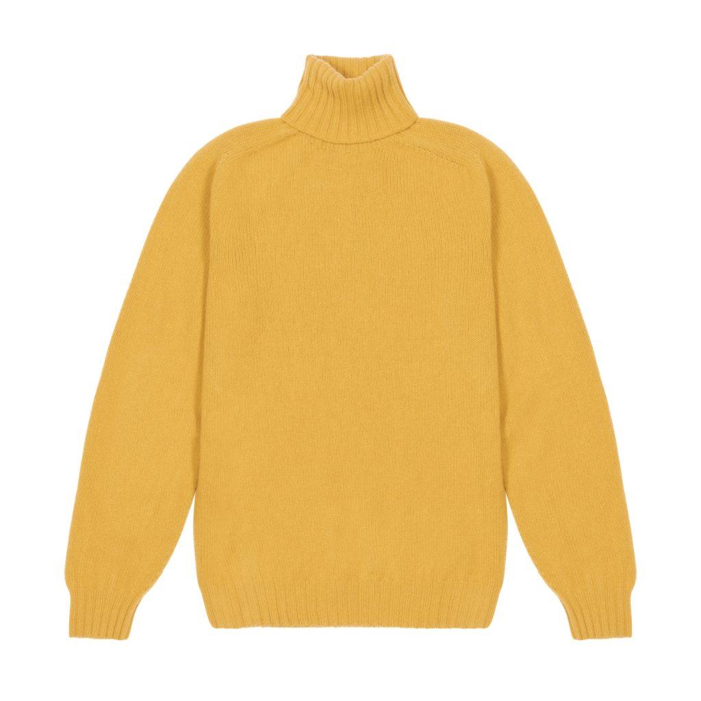 Mustard Superfine Lambswool Roll Neck