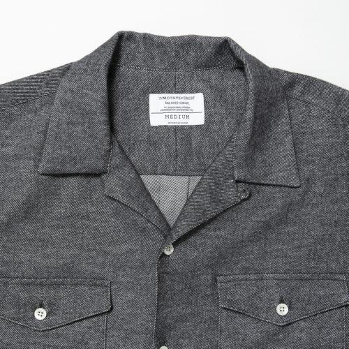 Navy Blue Heavy Twill Open Collar Shirt