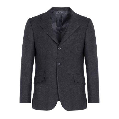 Charcoal Herringbone Brushed Wool Windsor Jacket